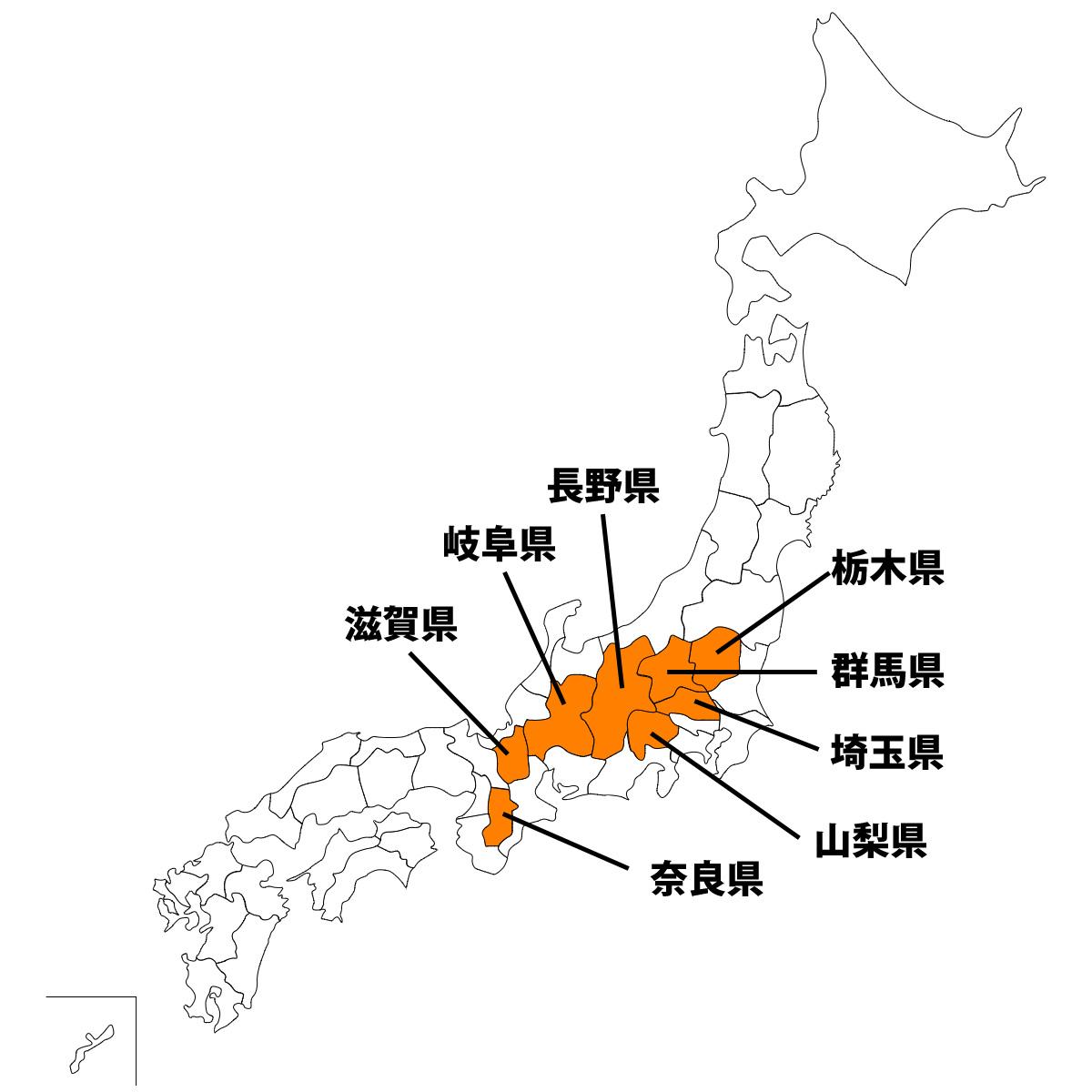 海なし県(内陸県)の地図