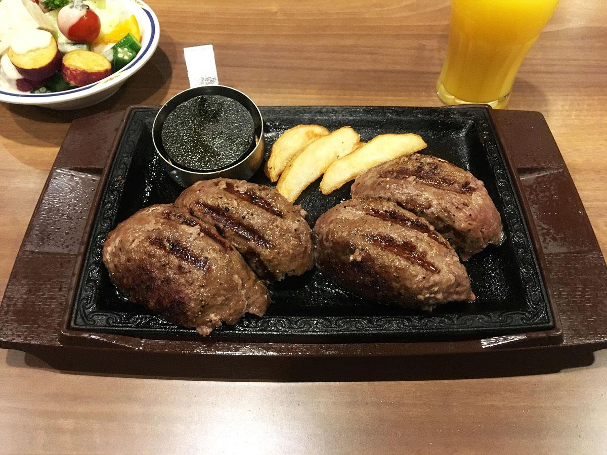 ステーキガスト 幡ヶ谷店「超力こぶハンバーグW」(2017年4月)