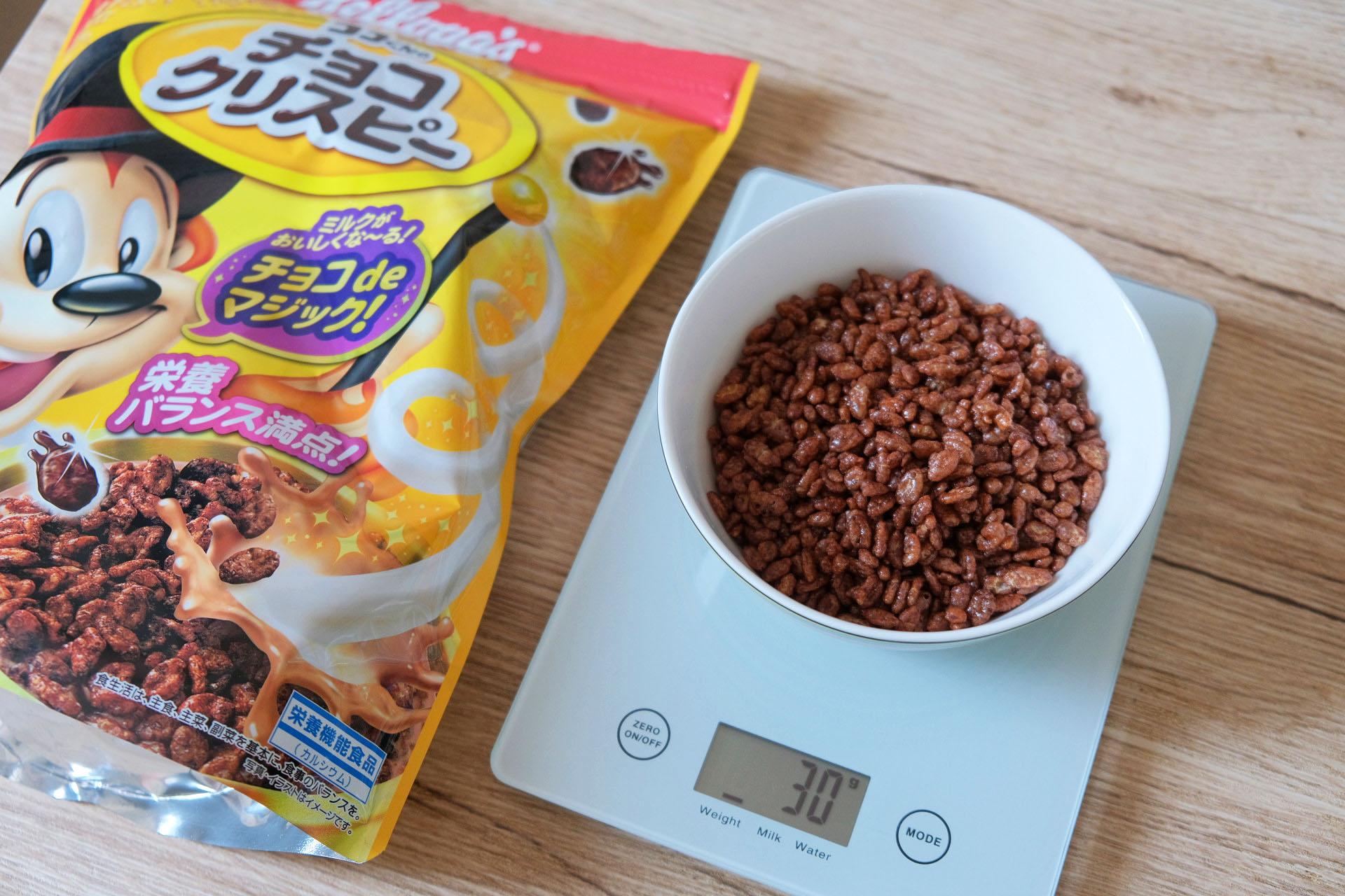 チョコクリスピーのグラムごとの栄養成分を比較