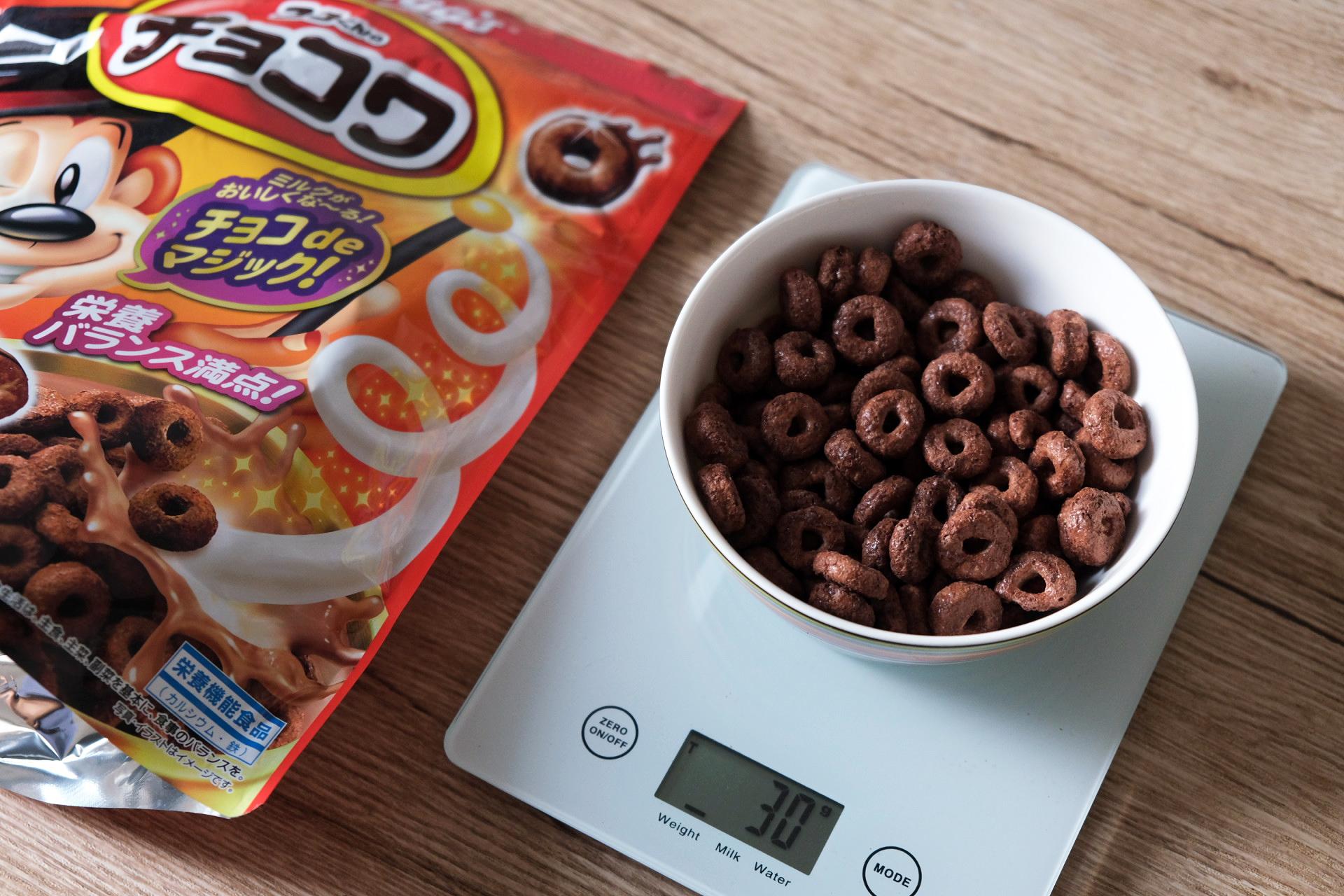 「チョコワ」のグラムごとの食べる量目安と牛乳・ヨーグルトをかけた時の栄養成分まとめ