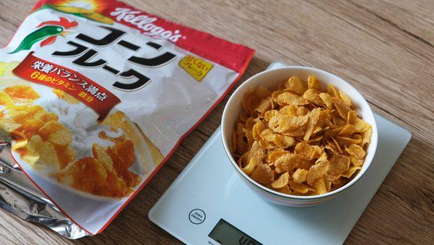 「コーンフレーク」1食40gはどれ位の量?グラムごとの写真と栄養成分