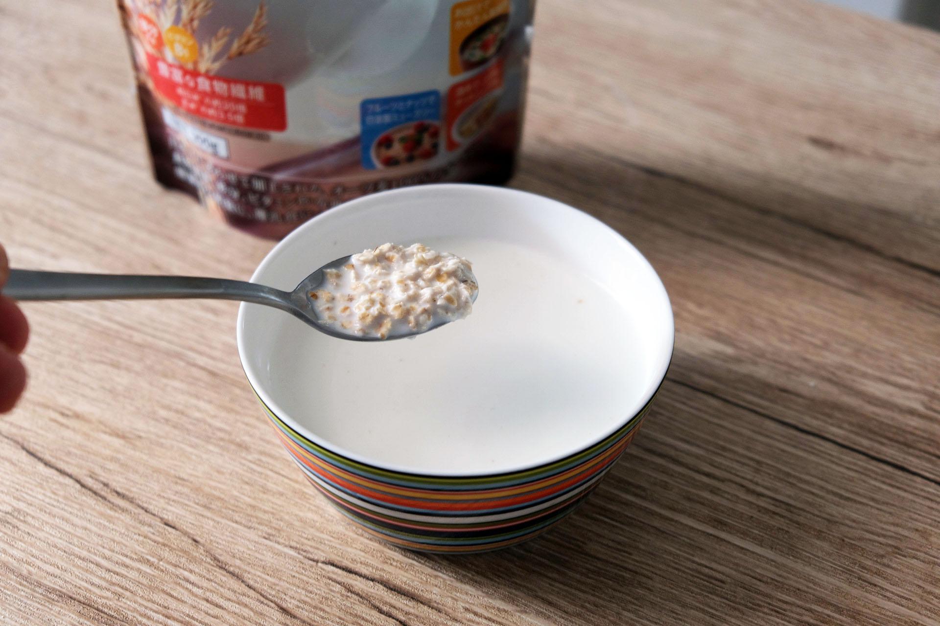 1食分(30g)のオートミールに200gの牛乳をプラス