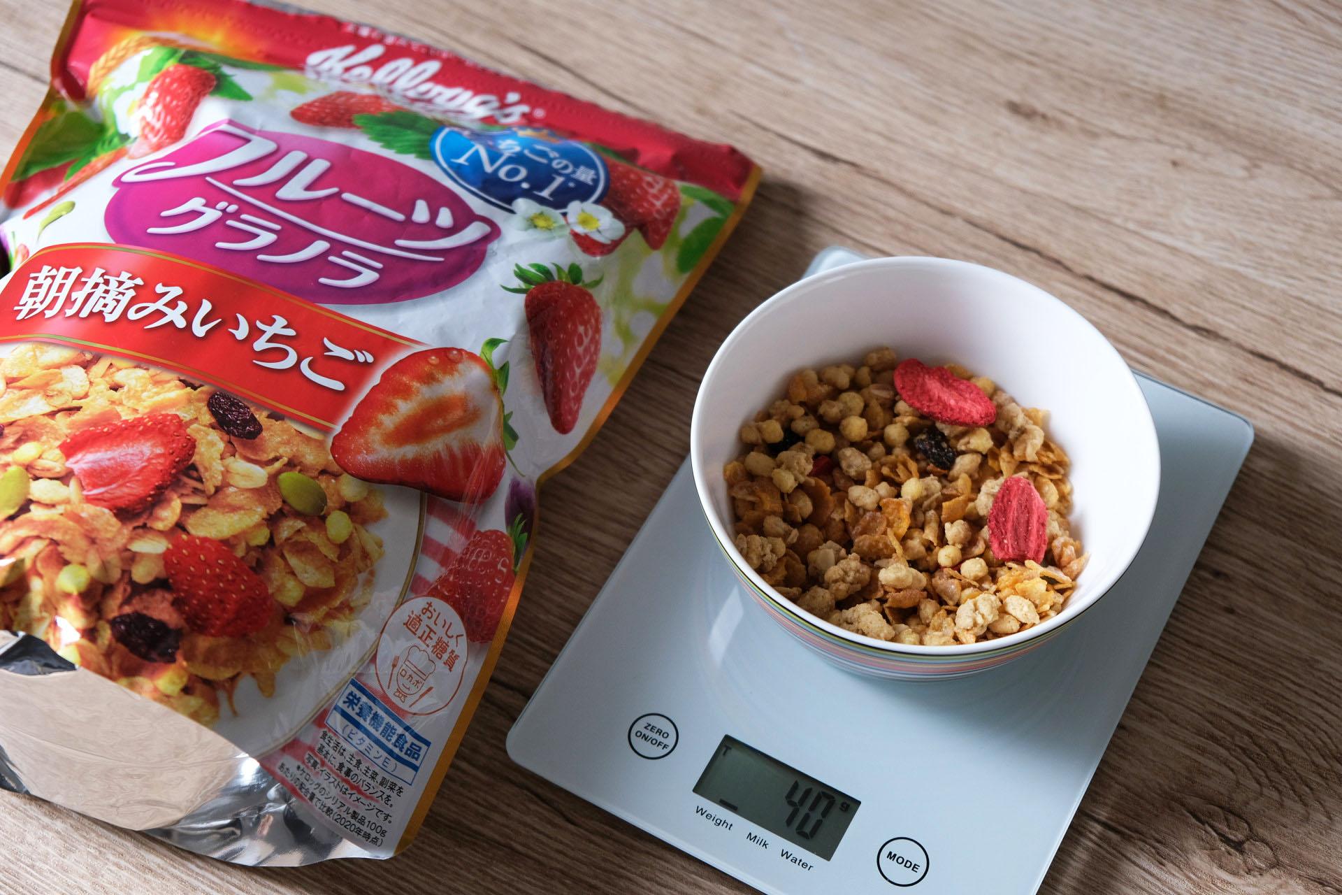 「フルーツグラノラ 朝摘みいちご」のグラムごとの写真とカロリーなどの栄養成分まとめ